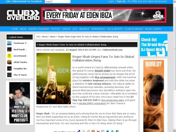 Club Overload features Roger Shah
