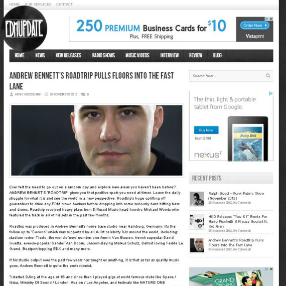 ANDREW BENNETT featured on EDM UPDATE