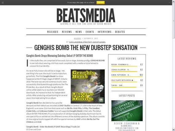 Genghis Bomb featured on Beatsmedia